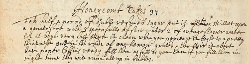 Honeycomb recipe from a 17thC manuscript (MS1511) dated 1682 in the Wellcome Library