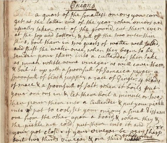 Pickled Onion manuscript recipe 1